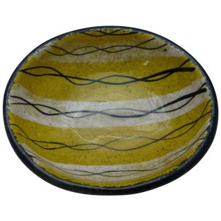 Mid-Century Striped Yellow Pottery Finger Bowl