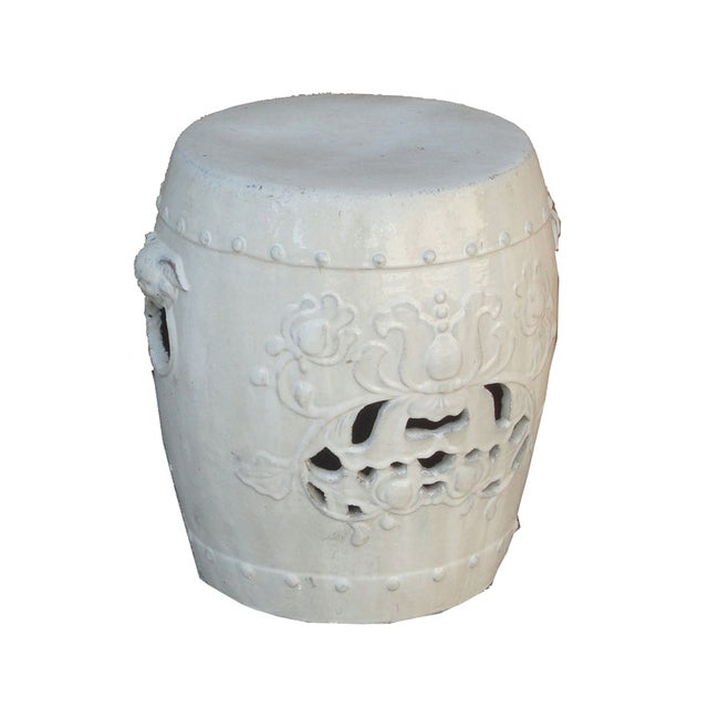 Image of Chinese Clay White Lotus Garden Stool/Ottoman