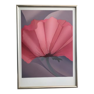 Pink Flower Lithograph by Nancy Denison