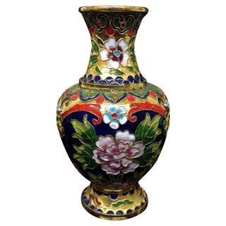 Vintage Gold & Green Floral Cloisonné Vase