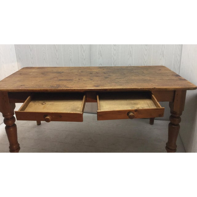 Farm Table With Drawers - Image 4 of 8