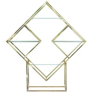 Milo Baughman Style Brass Diamond Shaped Etagere