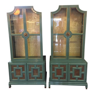 Renzo Rutili Teal Display Cabinets - A Pair