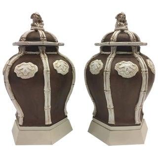 Italian Ceramic Lidded Urns - A Pair