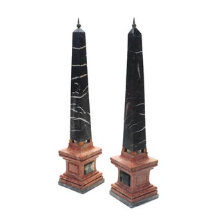 Italian Carved Marble Obelisks - A Pair