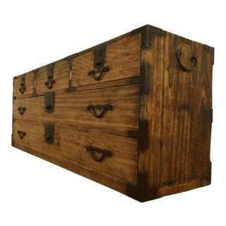 Antique Short Tansu Wood Chest