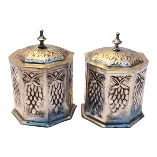 Moroccan Silver Hexagon Canisters - A Pair