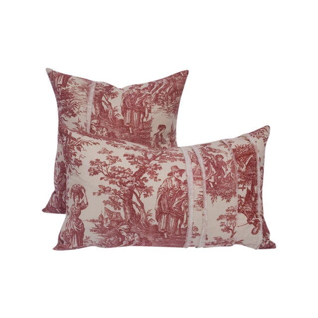 Red & Cream Deconstructed Toile Pillows - A Pair - Image 1 of 8