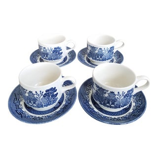 Staffordshire Blue Willow Cups & Saucers, 8 Piece