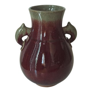Antique Chinese Oxblood & Celadon Vase-Elephant Heads