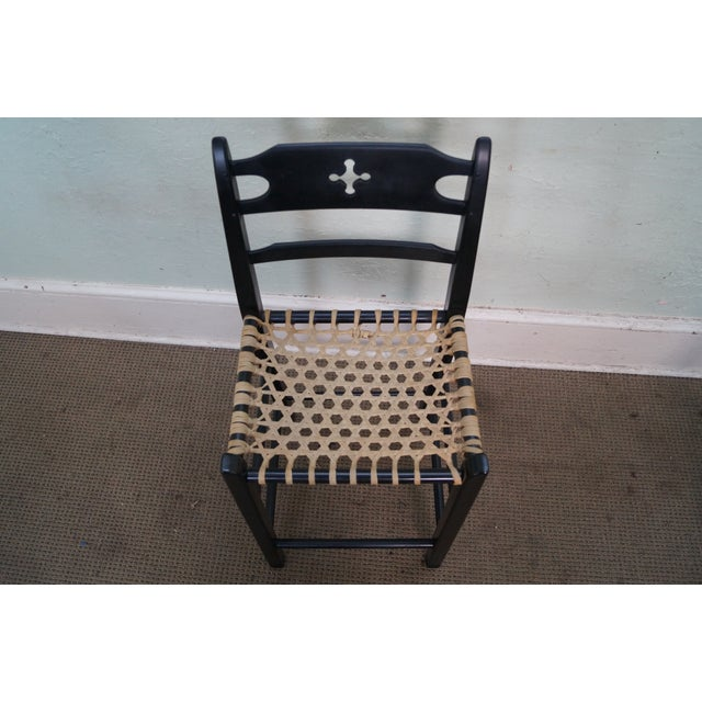 Black Painted Amp Woven Rawhide Seat Bar Stools Set Of 3