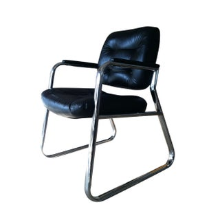 60s Chrome Arm Chair in Black