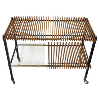 Midcentury Italian Wood Slat and Glass Console