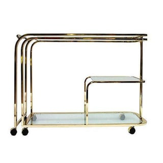 Brass and Glass Bar Cart by Milo Baughman for DIA