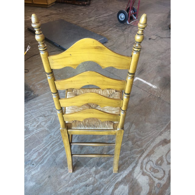 Antique Ladder Back Yellow Wood Chair - Image 5 of 10