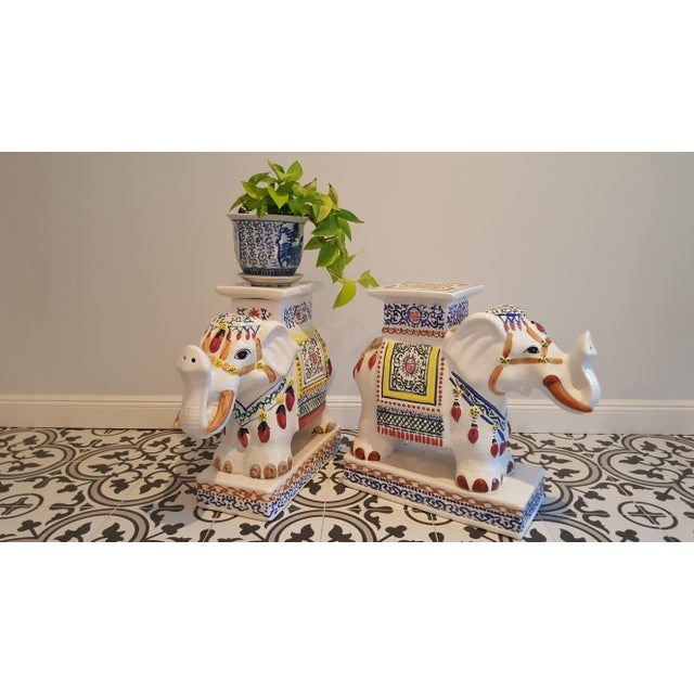 Ceramic Elephant Side Tables - A Pair - Image 8 of 11