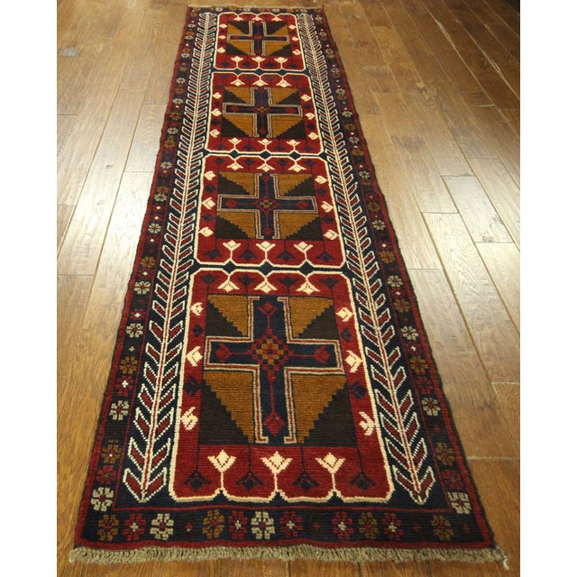 """Persian Baluch Red & Blue Rug - 2'7"""" x 9'10"""" - Image 3 of 7"""