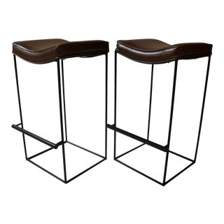 Mid-Century Modern Upholstered Iron Bar Stools - A Pair