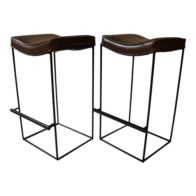 Image of Mid-Century Modern Upholstered Iron Bar Stools - A Pair