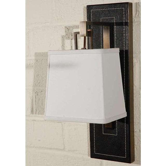 Image of Paul Marra Black Leather Back Sconce with Tapered Linen Shade