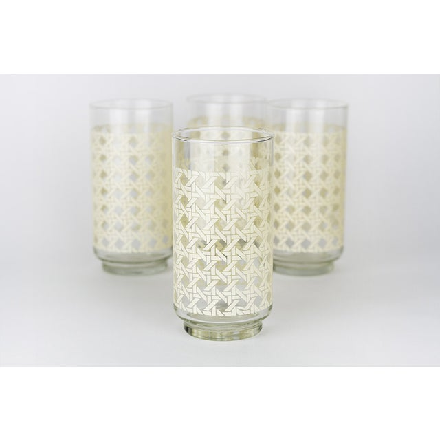 Caned Vintage Highball Glasses & Caddy - Set of 8 - Image 7 of 7