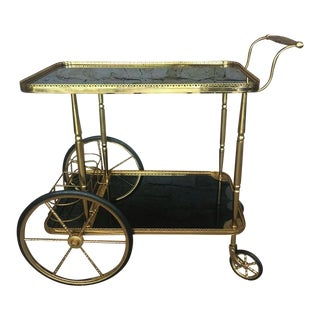 Hollywood Regency Maison Bagues Brass & Black Glass Tea Trolley