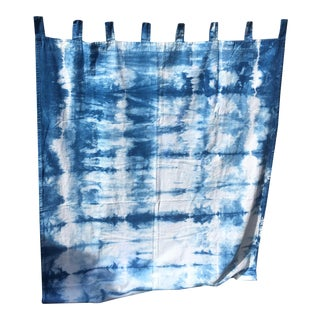 Hand Dyed Indigo Shibori Curtain Set - A Pair