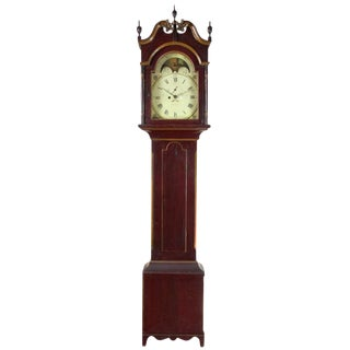 Painted Tall Case Clock with 8-day Moon Dial