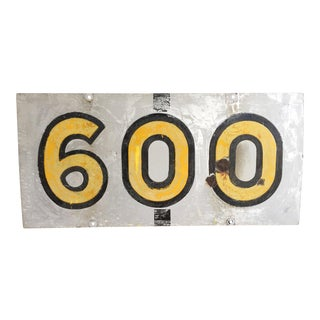 Vintage 600 Metal Sign with Enamel Paint