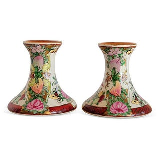 Hand-Painted Candleholders - A Pair