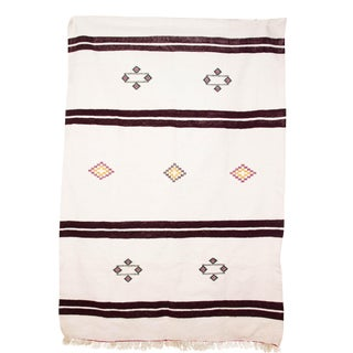 "Wine Stripe White Moroccan Rug - 4'9"" x 7'"