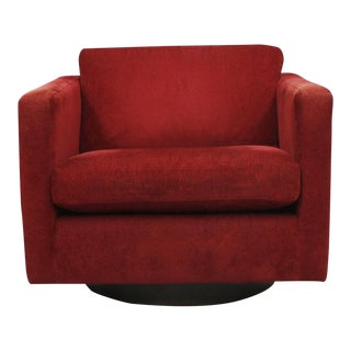 MCM Swivel Club Chair with Crimson Upholstery