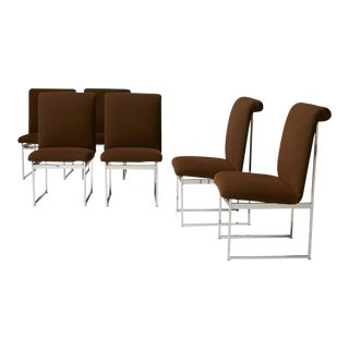 Chrome framed dining chairs by Milo Baughman for Thayer Coggin