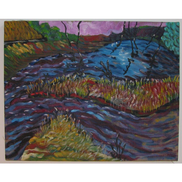 Image of Abstract Impressionist Landscape in Blue & Purple