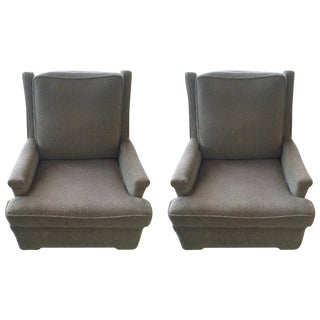 Pair of Tall Back Lounge Chairs in the Manner of Dunbar
