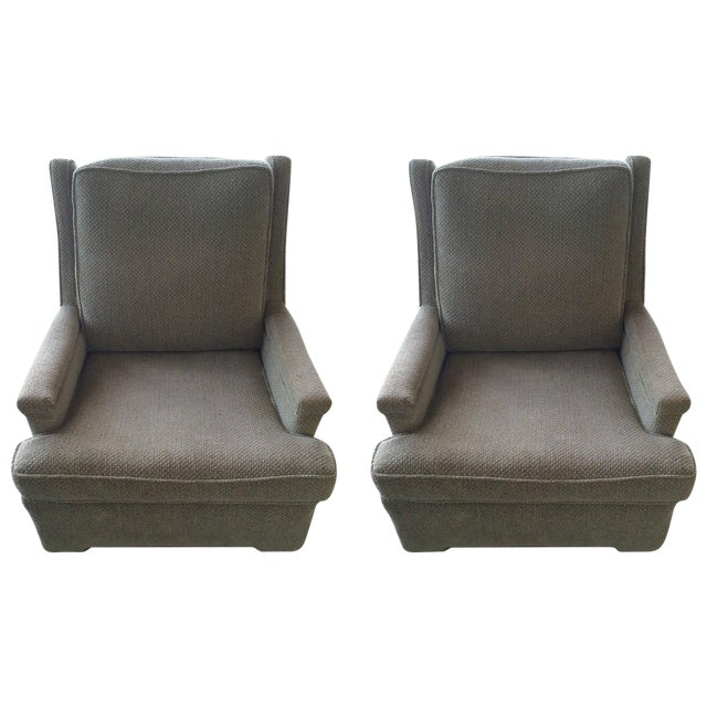 Pair of Tall Back Lounge Chairs in the Manner of Dunbar - Image 1 of 7