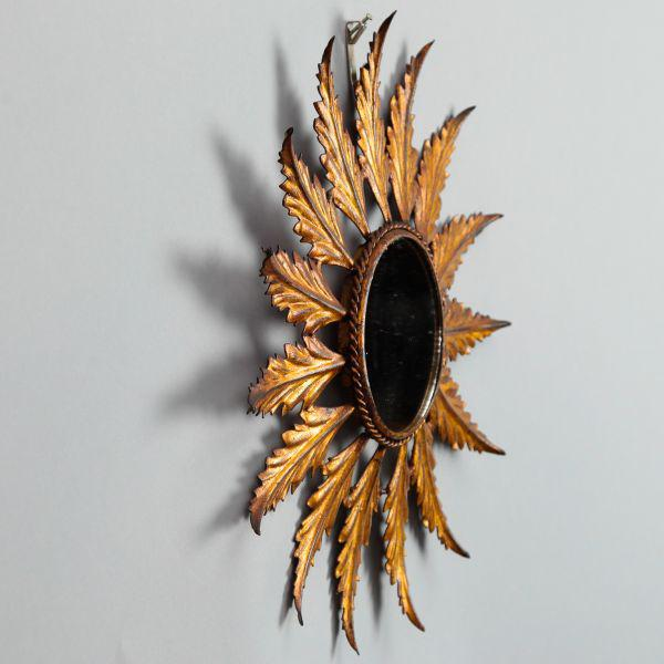 Mid-Century Italian Gilt Metal Sunburst Wall Mirror - Image 3 of 7