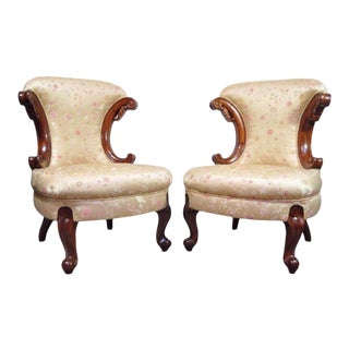 Pair of Hollywood Regency French Louis XV Style Slipper Fireside Lounge Chair Vintage