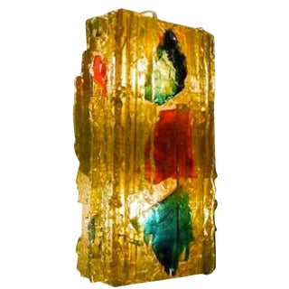Large Single Wall Sconce in Hand Chipped Glass by Raak, Netherlands circa 1957