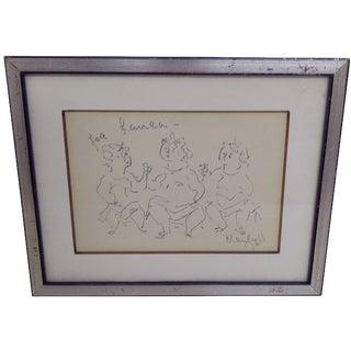 """For Laura"", Original Sketch by Chaim Gross"