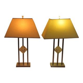 Mid-Century Modern Chrome & Lucite Stone Table Lamps - A Pair
