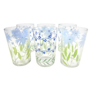 Blue Floral Juice Glasses - Set of 6