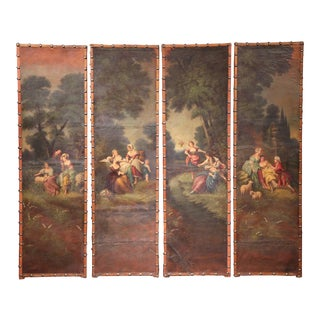 18th Century, French Hand-Painted Leather Four-Panel Screen from Lyon