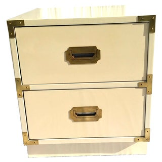 Lacquered Bernhardt Campaign Nightstand/Side Table