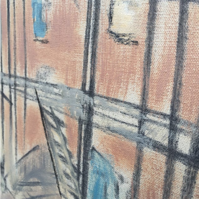 Image of Large Expressionist Urban Cityscape Painting