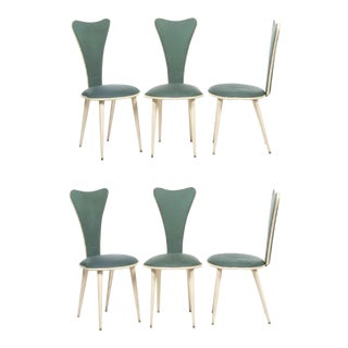 Umberto Mascagni Teal Dining Chairs -Three Pairs