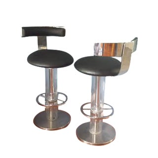 Chrome and Lucite Swivel Stools - a Pair