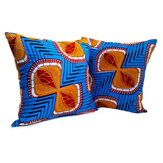 Echo African Wax Print Pillows - a Pair
