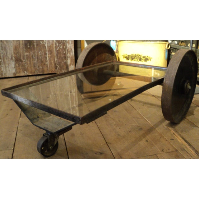 Antique Industrial Metal Glass Table on Wheels - Image 7 of 8