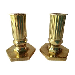 Swedish Mid-Century Solid Brass Candle Holders - A Pair